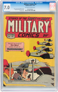 Military Comics #34 (Quality, 1944) CGC FN/VF 7.0 Off-white to white pages