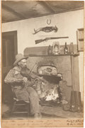 """Photography:Signed, Erwin E. Smith. """"Three Block Cowboy."""" B/w photograph, 13"""" x 18.5"""" affixed to slightly larger board. The large ph..."""