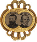 Political:Ferrotypes / Photo Badges (pre-1896), Grant & Wilson: Rare, Fancy 1872 Jugate Ferrotype Pin. ...