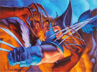 Greg and Tim Hildebrandt X-Men '95 Ultra Trading Card #139 Sabretooth vs. Wolverine Illust