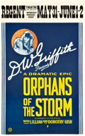 "Movie Posters:Drama, Orphans of the Storm (United Artists, 1921). Window Card (13.5"" X22"").. ..."