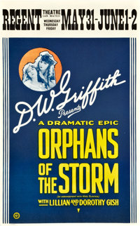 """Orphans of the Storm (United Artists, 1921). Window Card (13.5"""" X 22"""")"""