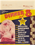 "Movie Posters:Comedy, Dinner at Eight (MGM, 1933). Jumbo Window Card (22"" X 28"").. ..."