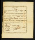 Colonial Notes:Massachusetts, State of Massachusetts-Bay £10 Treasury Certificate Comm'tte War at6% Interest October 14, 1778. Anderson MA-4. Extremely Fin...