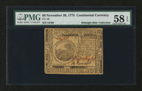 Continental Currency November 29, 1775 $6 PMG Choice About Unc 58 EPQ