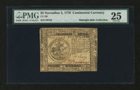 Continental Currency November 2, 1776 $5 PMG Very Fine 25