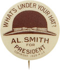"Political:Pinback Buttons (1896-present), Al Smith: Great 7/8"" Brown Derby Variety. ..."