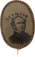 Political:Ferrotypes / Photo Badges (pre-1896), Horatio Seymour: Rare and Beautiful Oval Ferrotype in PristineCondition....