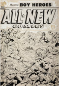 Original Comic Art:Covers, Alex Schomburg All-New Comics #11 Captain Red Blazer and BoyHeroes Cover Original Art (Harvey, 1946)....