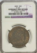 Bust Half Dollars: , 1809 50C Normal Edge--Improperly Cleaned--NGC. Extremely FineDetails. O-103. (#6092)...