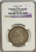 Bust Half Dollars: , 1814/3 50C --Improperly Cleaned--NGC. Extremely Fine Details.O-101. NGC Census: (3/98). PCGS Population (3/113). Numismed...