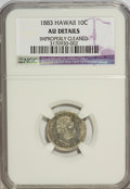 Coins of Hawaii: , 1883 10C Hawaii Ten Cents--Improperly Cleaned--NGC. AU Details. NGCCensus: (12/191). PCGS Population (48/229). Mintage: 25...