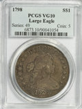 Early Dollars, 1798 $1 Large Eagle, Wide Date, Pointed 9 VG10 PCGS....