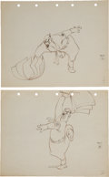 "Animation Art:Production Drawing, Scrap Happy Daffy ""Hitler"" Animation Production DrawingOriginal Art Group (Warner Bros., 1943).... (Total: 4 Items)"