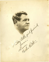 1940's Babe Ruth Signed Portrait Photograph