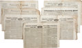 Miscellaneous:Newspaper, Seven Eastern U.S. Newspapers with Texas Content, all dated before,during, and after the Texas Revolution of 1836. All are ... (Total:7 Items)