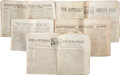 Miscellaneous:Newspaper, Five Eastern U.S. Newspapers with Texas Content, all dated between1839 and 1842. All are four pages in length with some fox...(Total: 5 Items)