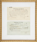 Autographs:Statesmen, Two Galveston Island Land Certificates, each dated November 15,1837, Houston. (1) Edwin Waller Certificate Signed. One ...