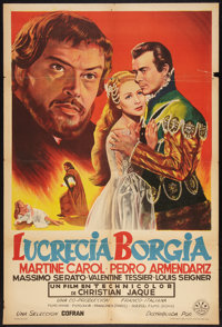 "Sins of the Borgias (DIFA Films, 1955). Argentinean Poster (29"" X 43""). Historical Drama"