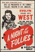 """Movie Posters:Sexploitation, A Night at the Follies (Roadshow Attractions, 1947). One Sheet (28""""X 42""""). Sexploitation.. ..."""