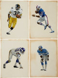 Football Collectibles:Others, 1970's-80's NFL Football Original Illustration Artwork Lot of 28....