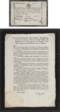 Miscellaneous:Broadside, Broadside Declaring Agustin de Iturbide a Traitor and an Enemy ofthe State and Printed Currency Issued by Iturbide. Single ...