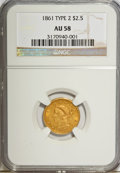 Liberty Quarter Eagles: , 1861 $2 1/2 New Reverse, Type Two AU58 NGC. NGC Census: (341/887).PCGS Population (195/498). Mintage: 1,283,878. Numismedi...
