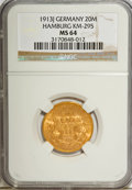 German States:Hamburg, German States: Hamburg. Free City gold 20 Mark 1913-J,...