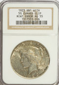 Errors, 1923 $1 Peace Dollar--With 5% Curved Clip--AU55 NGC....