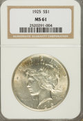 Peace Dollars: , 1925 $1 MS61 NGC. NGC Census: (122/30864). PCGS Population(162/29855). Mintage: 10,198,000. Numismedia Wsl. Price for prob...
