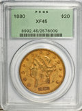 Liberty Double Eagles: , 1880 $20 XF45 PCGS. PCGS Population (75/267). NGC Census: (23/289).Mintage: 51,456. Numismedia Wsl. Price for problem free...