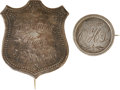 Military & Patriotic:Civil War, Silver Identification Shield and Pin of a Member of the Famed 50th New York Engineers.... (Total: 2 Items)