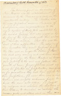 "Miscellaneous:Ephemera, New Mexico: Early 20th Century Manuscript Titled ""Memorandum ofPueblo Insurrection"". An unpublished composition ..."