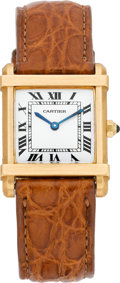 Timepieces:Wristwatch, Cartier Gold Tank Chinoise Wristwatch, circa 1995. ...