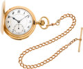 Timepieces:Pocket (post 1900), Ch. Tissot & Fils Gold Minute Repeater With Gold Chain, circa 1905. ...