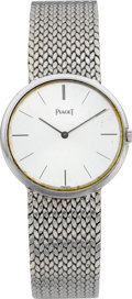 Timepieces:Wristwatch, Piaget Gent's White Gold Ultra Thin Wristwatch, circa 1970's. ...