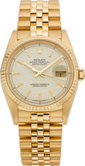 Timepieces:Wristwatch, Rolex Jubilee Gold Oyster Perpetual Datejust Ref. 16238, circa 1990. ...
