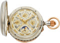 Timepieces:Pocket (pre 1900) , Swiss Very Fine Minute Repeater Triple Date Fancy Dial Moon Phase With Unique Case, circa 1895. ...