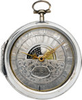 Timepieces:Pocket (pre 1900) , J. Whitfield Liverpool Rare Early Verge With Sun & Moon Dial, circa 1730. ...