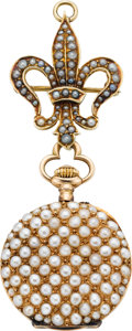 Timepieces:Pendant , Swiss Lady's Pearl Set Gold Pendant Watch & Pin, circa 1905....