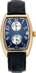 Timepieces:Wristwatch, Franck Muller Master Banker Three Time Zone Gold Wristwatch, circa 2000. ...