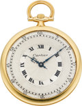Timepieces:Pocket (post 1900), Cartier Gold Art Deco Watch By European Watch & Clock Co.,circa 1920's. ...