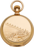 Timepieces:Pocket (pre 1900) , Elgin 16 Size Fancy Dial Gold Hunters Case, circa 1888. ...