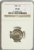 Proof Shield Nickels: , 1881 5C PR66 NGC. NGC Census: (167/25). PCGS Population (141/23).Mintage: 3,575. Numismedia Wsl. Price for problem free NG...