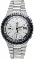 Timepieces:Wristwatch, Heuer Men's Stainless Steel Pilot Quartz Chronograph Wristwatch, circa 1980. ...