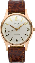 Timepieces:Wristwatch, Doxa Pink Gold Gent's Wristwatch, circa 1960. ...
