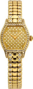 Timepieces:Wristwatch, Cartier Lady's Diamond, Gold Bracelet Watch, modern. Case: 27 x 20 mm, tonneau-shaped, 18k yellow gold, diamond set bezel,...