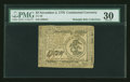 Colonial Notes:Continental Congress Issues, Continental Currency November 2, 1776 $3 PMG Very Fine 30....