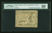 Continental Currency November 2, 1776 $3 PMG Very Fine 30
