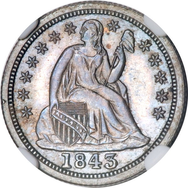 1843 10C PR65 NGC     Proof Seated Dimes | Lot #412